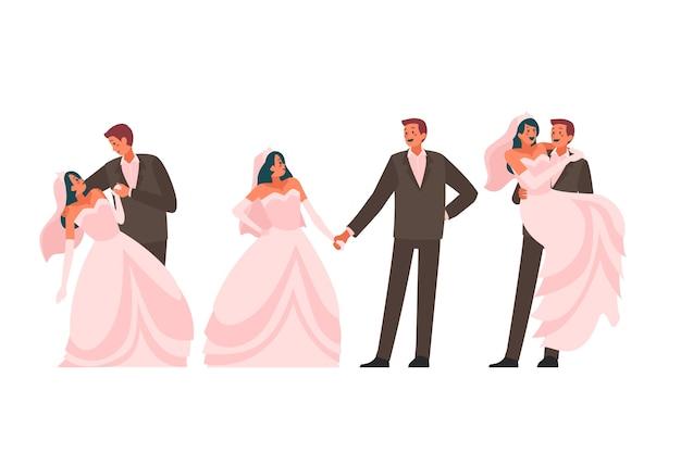 Jeunes mariés dansant