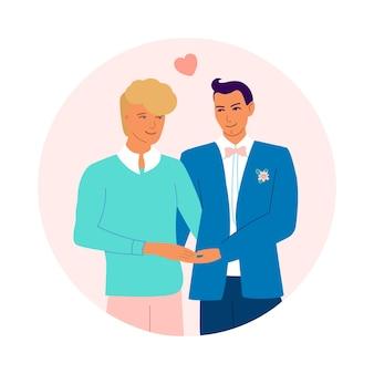 Les jeunes mariés gays se tenant la main. heureux couple gay. le concept de lgbt, d'amour et d'égalité. conception pour la saint-valentin, mariage, cartes de voeux. illustration de dessin animé de vecteur