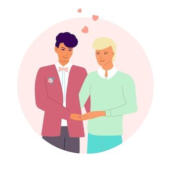 Les jeunes mariés gays se tenant la main. heureux couple gay. illustration vectorielle