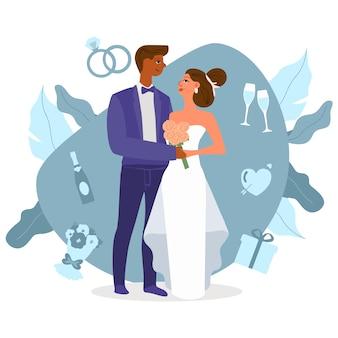 Jeunes mariés illustrés