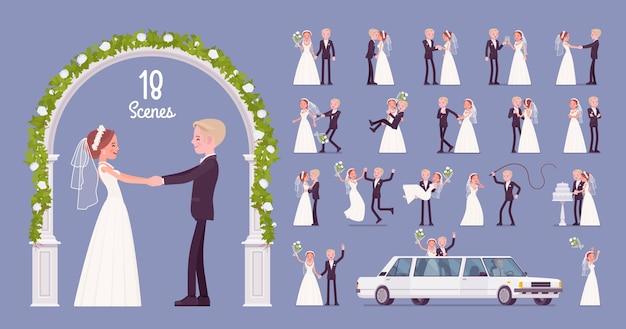 Jeunes mariés sur le jeu de caractères de cérémonie de mariage