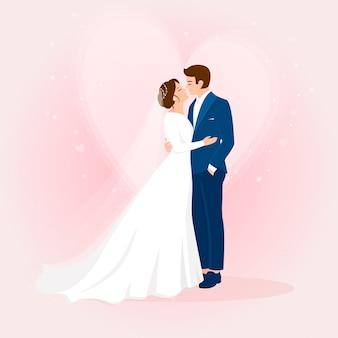 Jeunes mariés de mariage dessinés à la main avec coeur