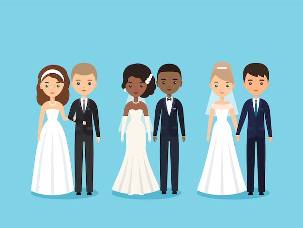 Jeunes mariés. personnages de gens plats.