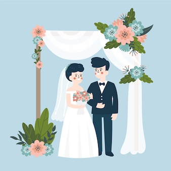 Jeunes mariés se marier illustration