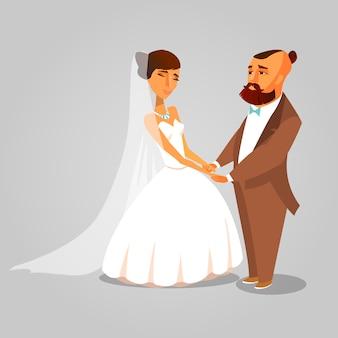Jeunes mariés, tenant par la main dessiné des cliparts.