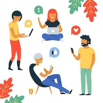 Jeunes avec ordinateurs portables et smartphones