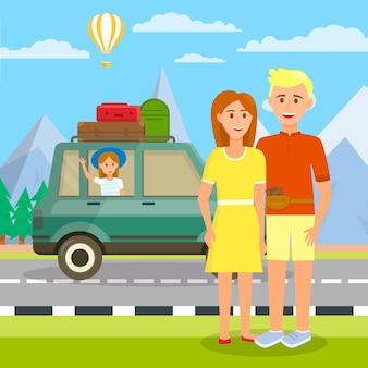 Jeunes parents debout dans la voiture avec leur petite fille