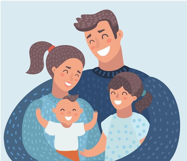 Les jeunes parents de la famille avec deux enfants fille et fils debout