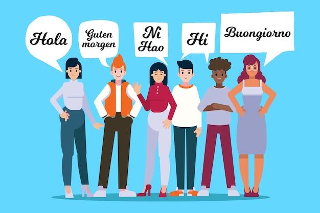 Jeunes parlant dans différentes langues