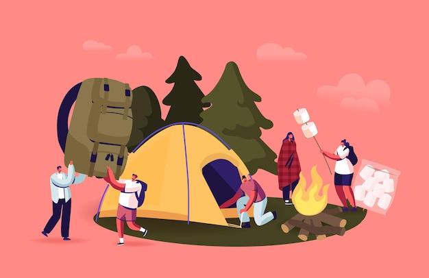 Les jeunes passent du temps au camp d'été dans la forêt profonde. les personnages de l'entreprise de touristes installent une tente, font frire de la guimauve sur un feu de camp. amis de randonnée avec sac à dos en vacances. illustration vectorielle de dessin animé