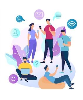 Jeunes personnages discutant dans un réseau social
