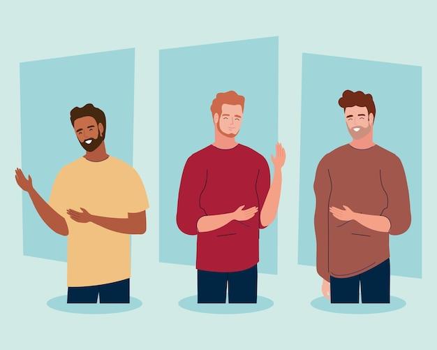 Jeunes personnages hommes de la diversité
