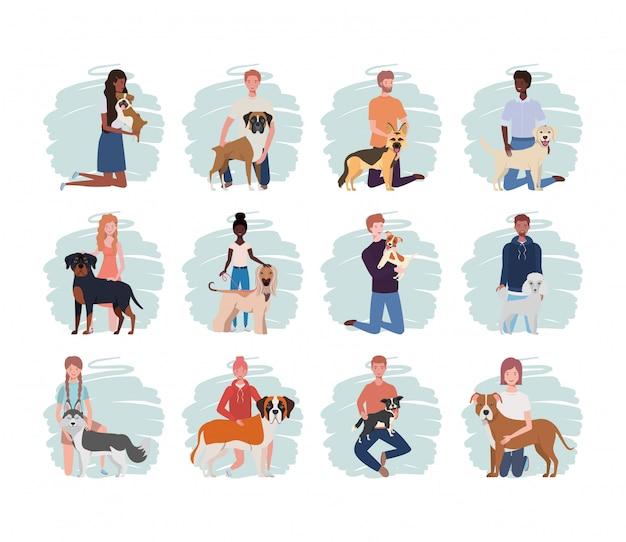 Jeunes avec des personnages mascottes de chiens mignons