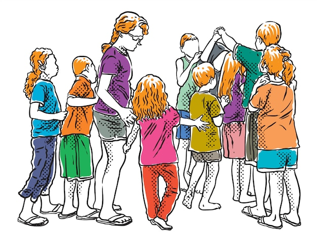 Jeunes petits enfants jouent illustration de ligne de jeu traditionnel