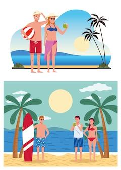 Jeunes portant des maillots de bain sur les scènes de plage