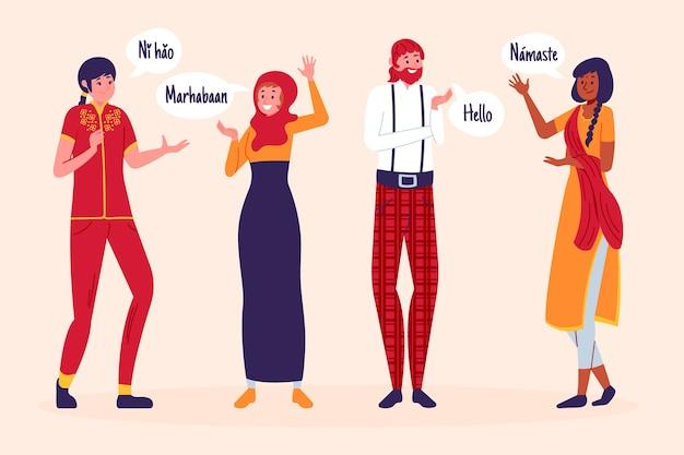 Jeunes qui communiquent dans différentes langues