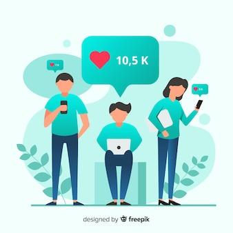Jeunes à la recherche de goûts sur les médias sociaux