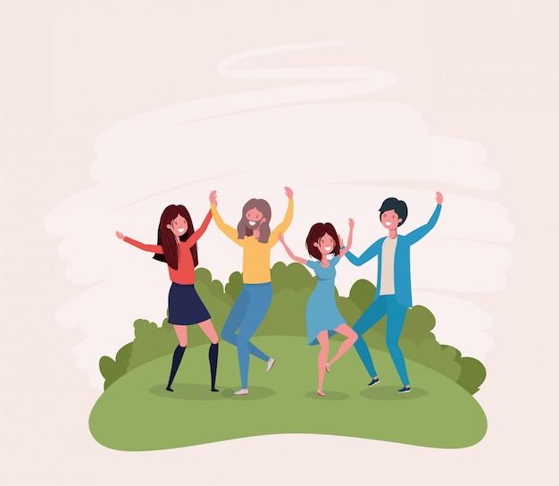 Jeunes sautant en train de célébrer dans les personnages du parc