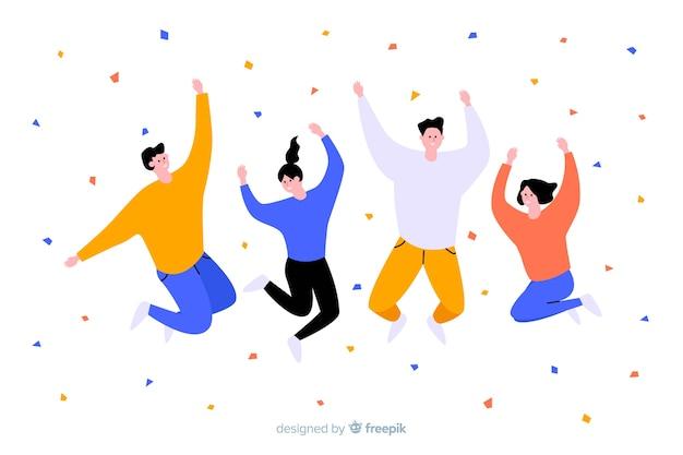 Jeunes sautant