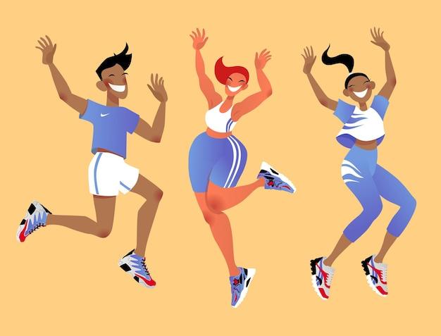 Les jeunes sautent. personnage de dessin animé. illustration colorée