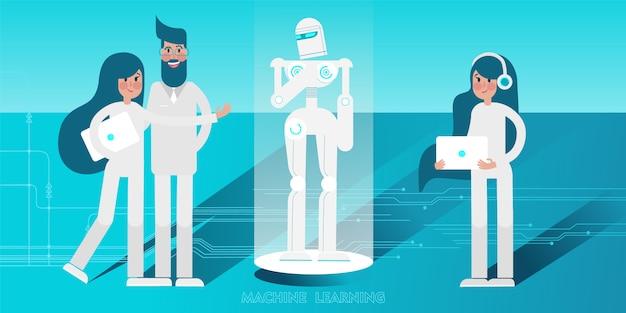 Jeunes scientifiques avec un ordinateur portable programmant un robot humanoïde.