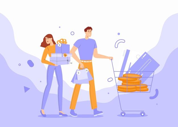 Jeunes, shopping avec chariot et sacs.