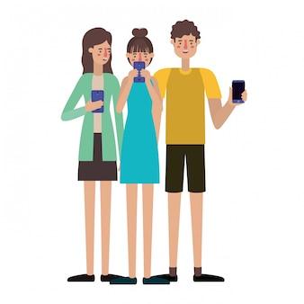 Jeunes avec smartphone
