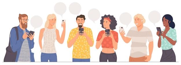 Les jeunes avec des smartphones