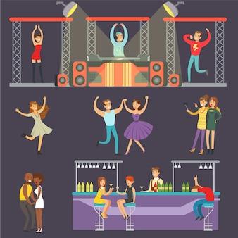Jeunes souriants dansant en boîte de nuit et buvant au bar avec dj jouant de la musique cartoon illustration