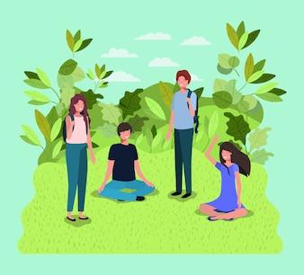 Jeunes sur les personnages du parc