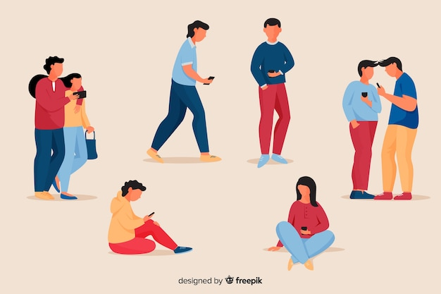 Jeunes tenant leur paquet de smartphones