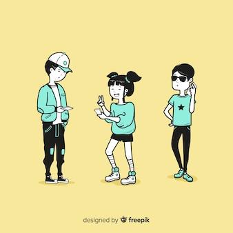 Jeunes tenant des smartphones dans un style de dessin coréen