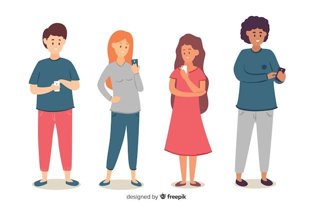 Jeunes, tenue, smartphones, illustration