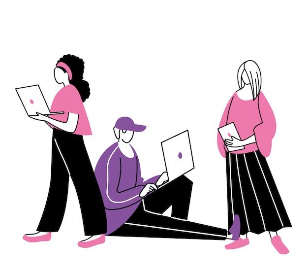 Jeunes utilisant un appareil électronique