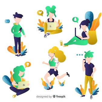 Jeunes utilisant des appareils technologiques. jeu de conception de personnage