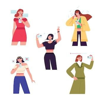 Jeunes utilisant la collection de smartphones