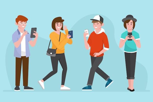 Jeunes utilisant des smartphones