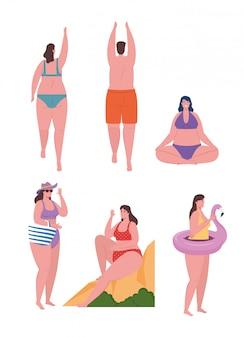 Jeunes, utilisation, maillot de bain, femmes, homme, maillot de bain, saison vacances été