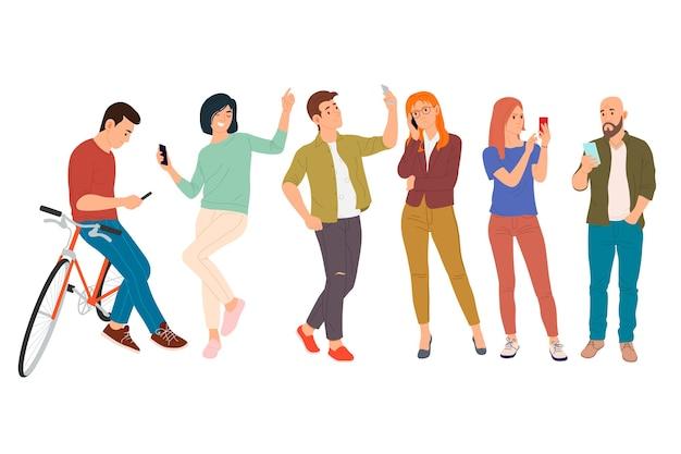 Les Jeunes Utilisent Leur Téléphone à Des Fins Différentes Vecteur Premium