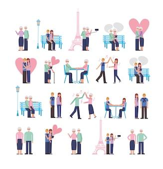 Jeunes et vieux parents amoureux couples personnages