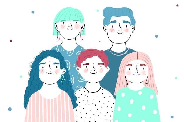 Jeunes avec des visages heureux