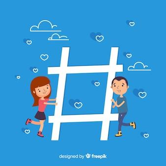 Jeunesse hashtag symbole fond
