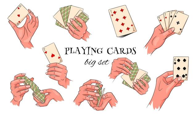 Jeux d'argent. cartes à jouer en main. casino, fortune, chance. grand ensemble. style de bande dessinée. illustration vectorielle pour la conception et la décoration.
