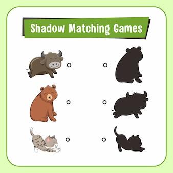 Jeux d'association d'ombres animaux buffalo bear cat
