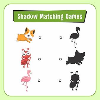 Jeux d'association d'ombres animaux chien ant flamingo bird