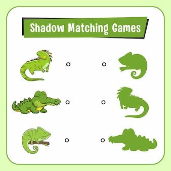 Jeux d'association d'ombres animaux reptile lizard
