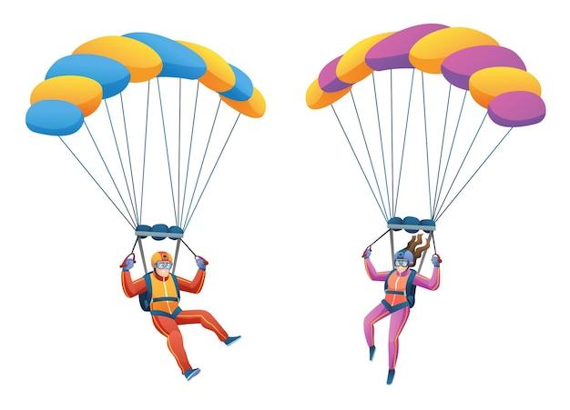 Jeux de caractères de couple parachutiste parachutiste