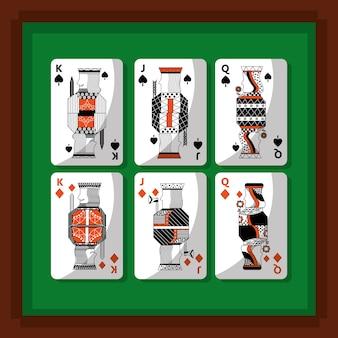 Jeux de cartes poker rois et reine bêche et diamant