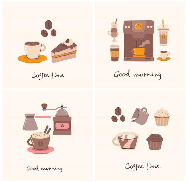 Jeux de cartes avec tasse de café et le gâteau au café dans le style d'art en ligne sur fond.