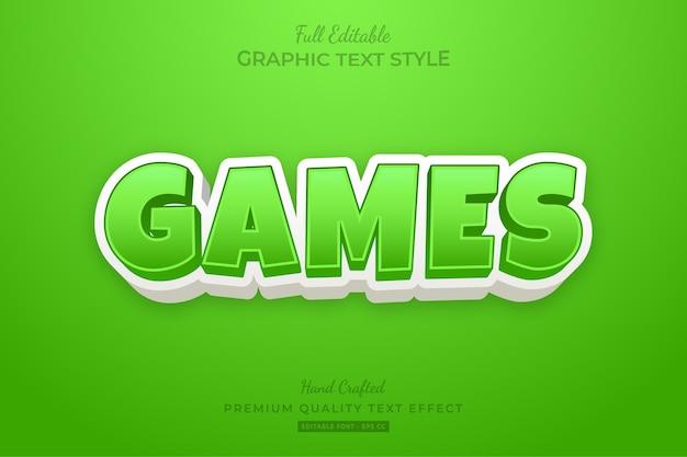 Jeux cartoon green effet de style de texte modifiable premium